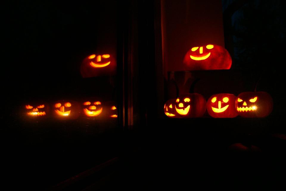 Autumn, Halloween, Pumpkin, Dark, Night, Lights, Candle