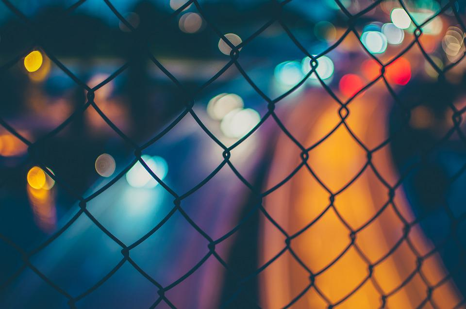 Blurred, Bokeh, Fence, Lights, Wire Mesh