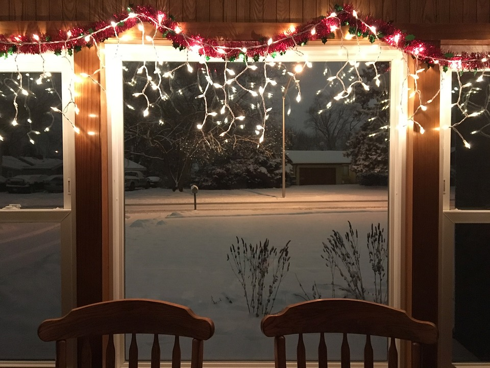christmas snow chairs window lights xmas holiday