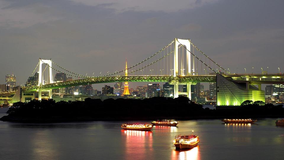 Bridge, In The Evening, Water, Lights, City, Lighting
