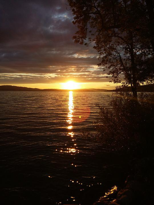 Sunset, Lake, Switzerland, Nightfall, Nature, Lights