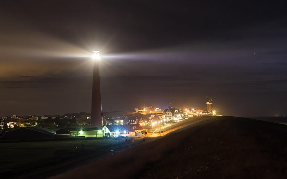 Night Lighthouse Lights City Sea Lake North Sea & Free photo Lights Lighthouse City Lake Sea North Sea Night - Max Pixel