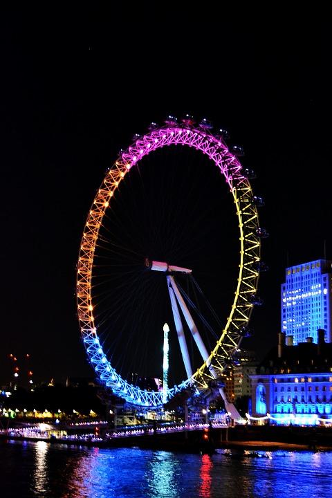 London, England, Londoneye, Water, Lights