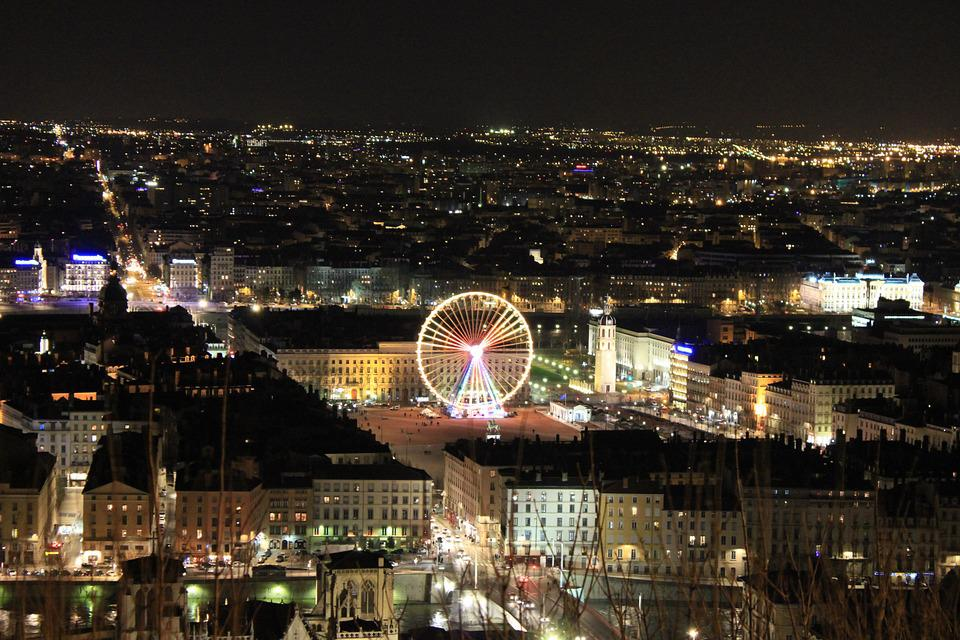 France, Lyon, Night, City, Lights, Monument, Landscape