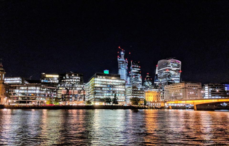 Night, City, Cityscape, River, Urban, Lights
