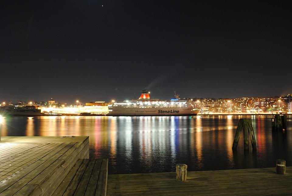 Gothenburg, Sweden, Night, Evening, Lights, Lighting