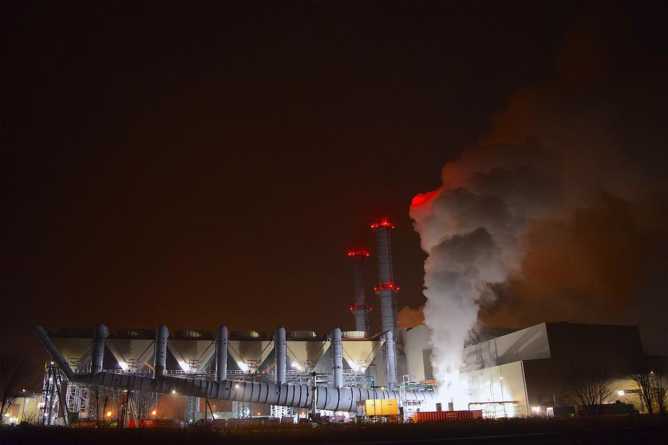 Industrial, Night, Lights, Smoke, Steam, Pollution