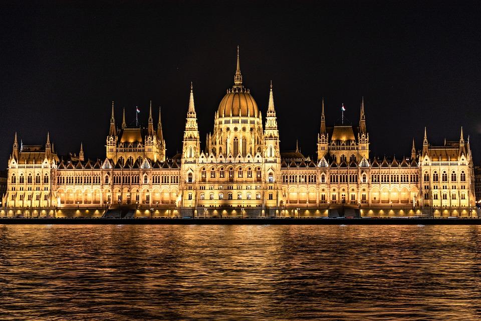 Parliament, Budapest, Hungary, River, Night, Lights
