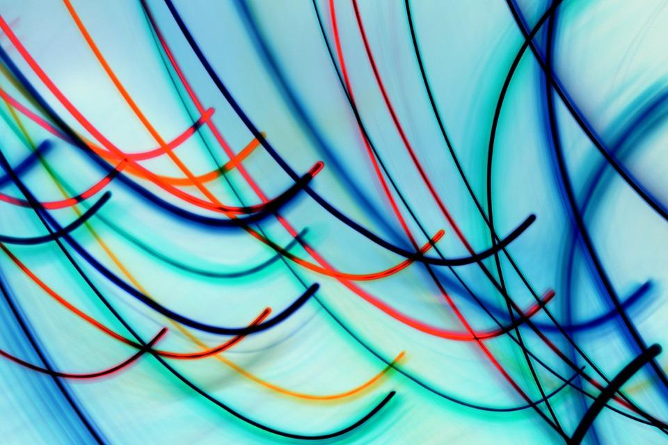 Lights, Blue, Lines, Reflection, Colors