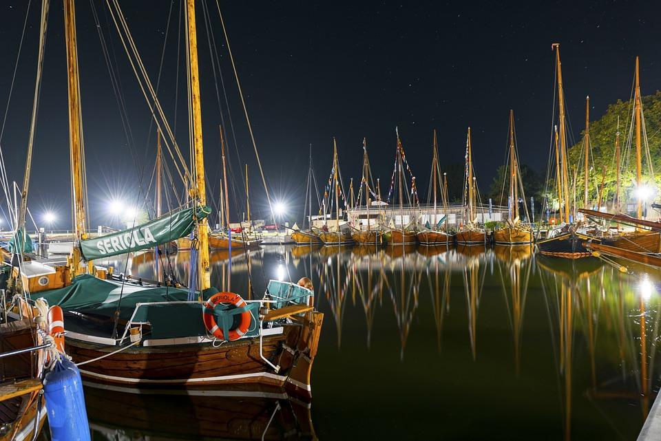Zeesen Boats, Night, Port, Lights, Ship, Long Exposure