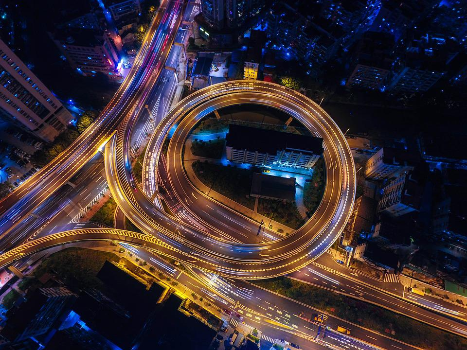 Streets, Night, Lights, Circle, Highways, Top View