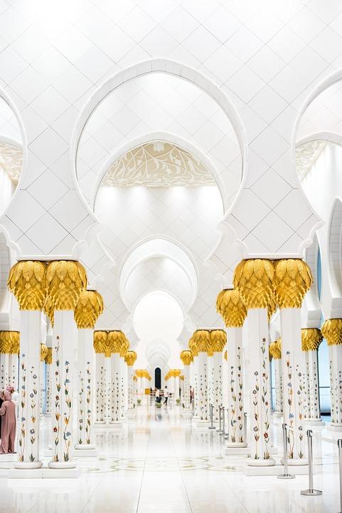 Uae, Abu Dhabi, Grand, Mosque, Lights, Dome, Muslims