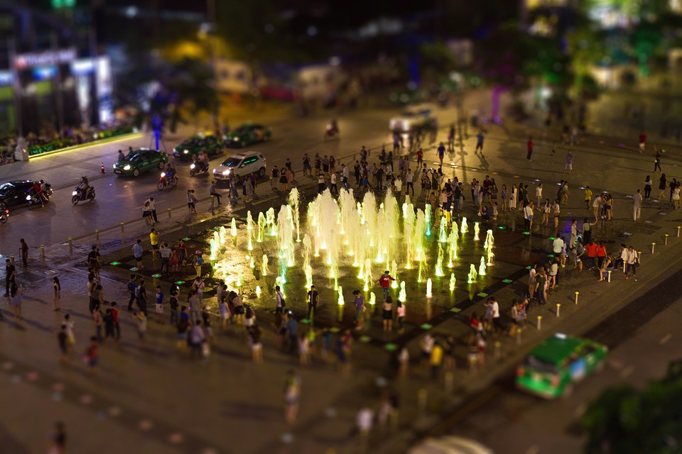 Fountain, Park, Water, Lights, Blur, Car, Vehicle, City