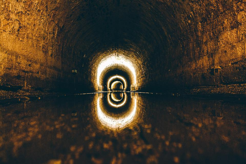 Lights, Reflection, Tunnel, Water, Wet
