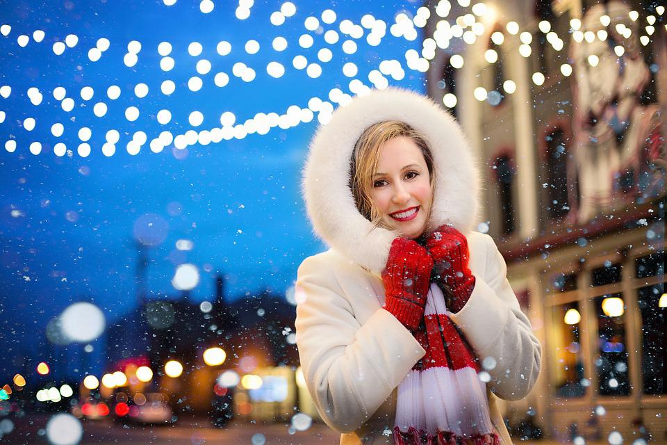 Christmas, Woman, Lights, Snow, Christmas Lights