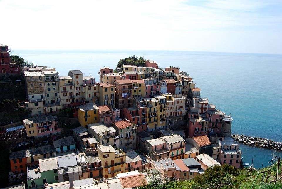 Cinque Terre, Liguria, Houses, Sea, Mountain, Colors