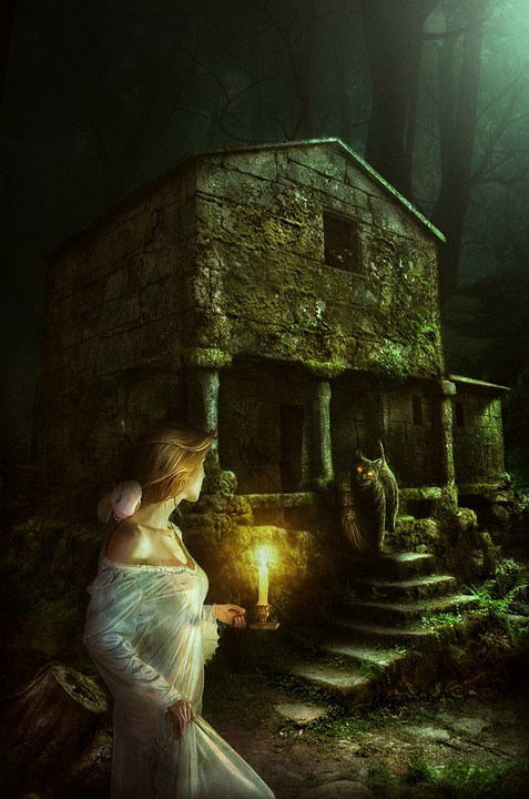 Wanita, Cahaya, Lilin, Berdiri, Menatap, Kucing