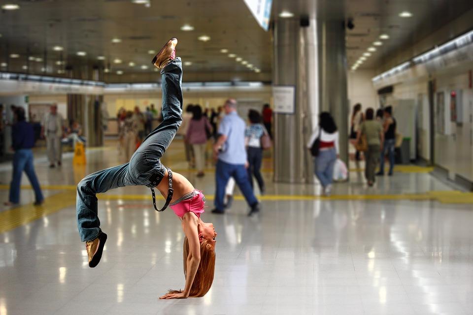 Handstand, Sporty, Limber, Woman, Girl, Joy Of Life