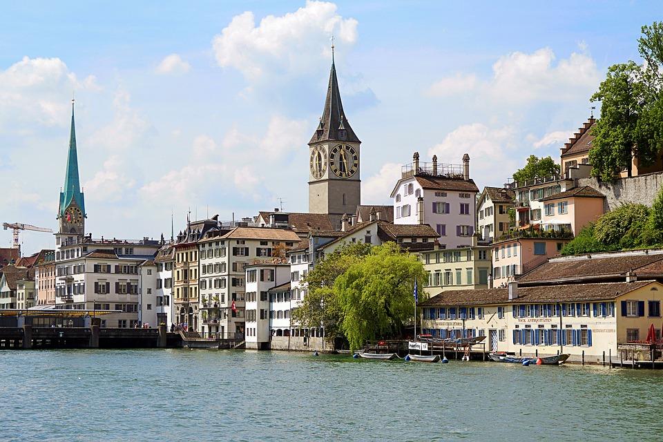 Switzerland, Zurich, Limmat, River, Water, Steeple