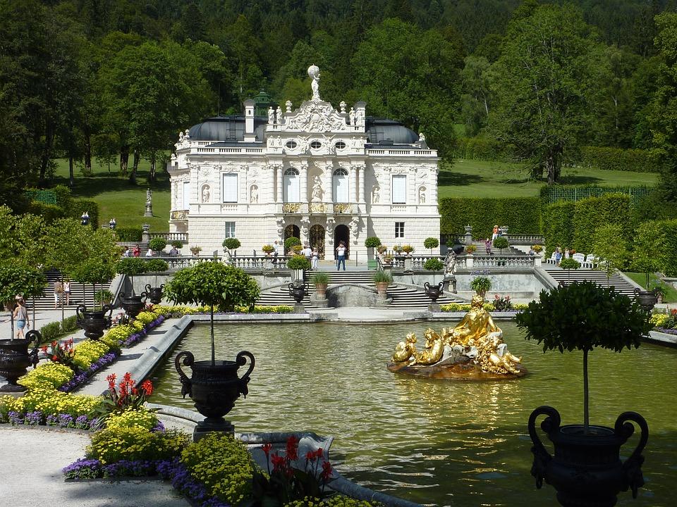 Linderhof, Palace, Fountain, Pond