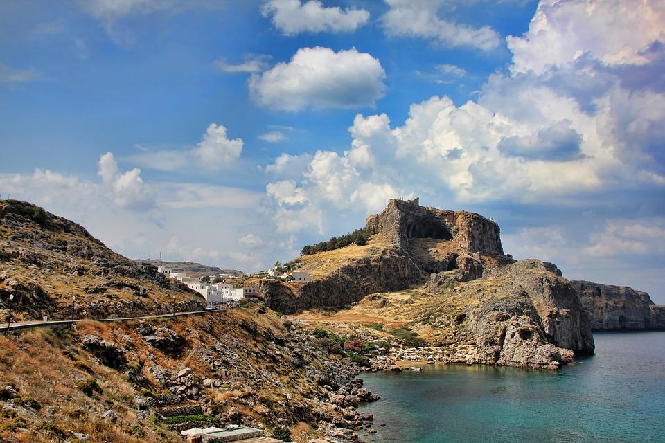 Greece, Lindos, Rhodes, Rock, Castle, Sky, Summer