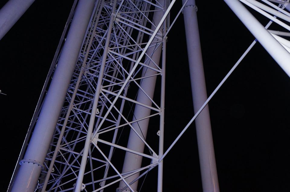 Ferris Wheel, Fire, Thailand, Line