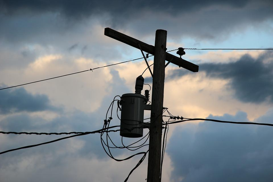 Power Pole, Clouds, Electricity, Line, Dusk, Wires