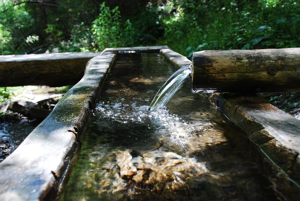 Water, Tube, Fountain, Nature, Wood, Line, Flow
