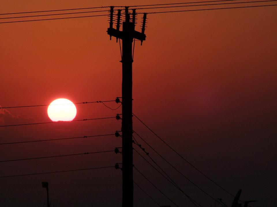 Sunset, Cable, Lines, Power Line, Mast