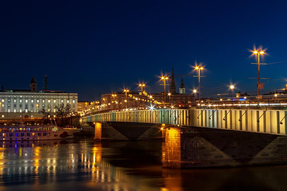 Bridge, Night, Lights, Architecture, City, Linz