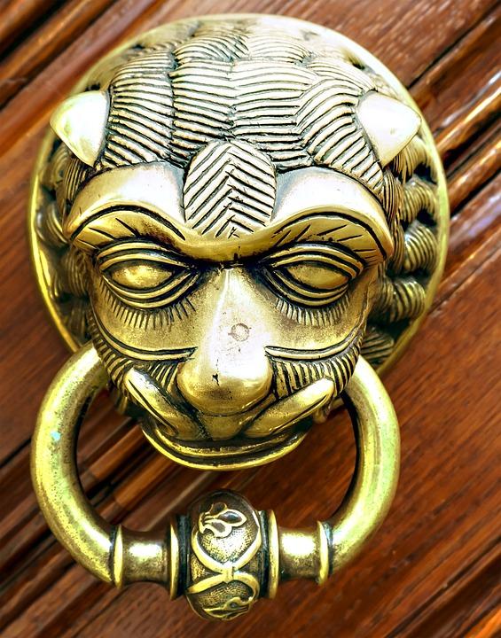 Thumper, Door, Metal, Handle, Doorknocker, Brass, Lion