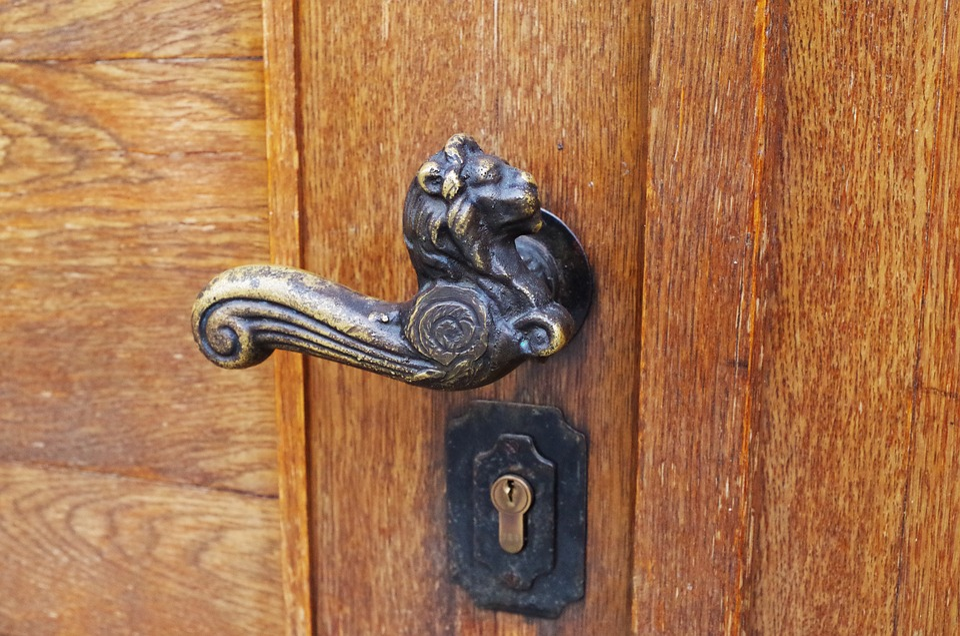 Door Handle, Antique, Lion, Iron, Old, Door