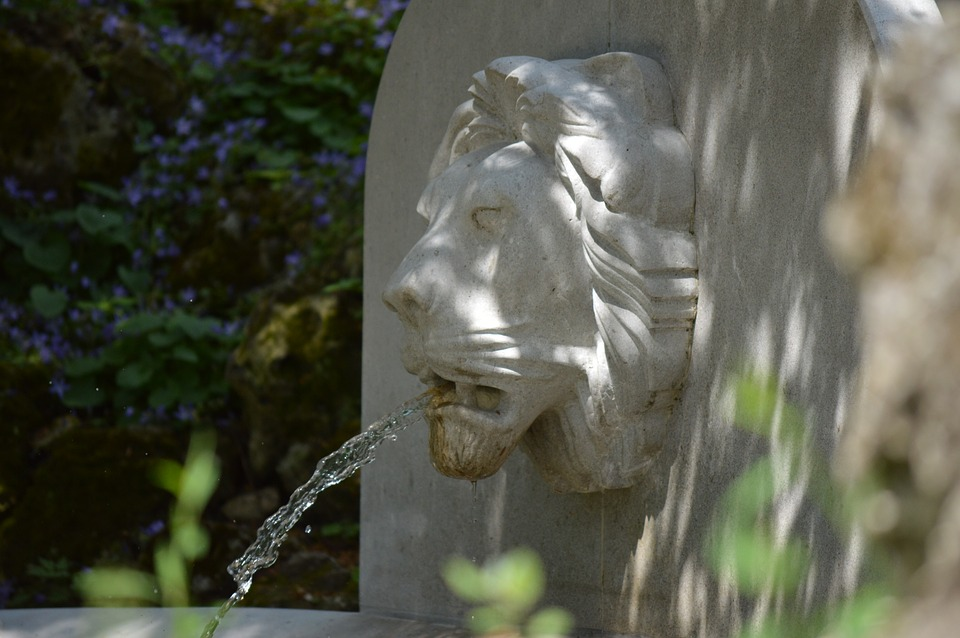 Lion, Stone, Fountain
