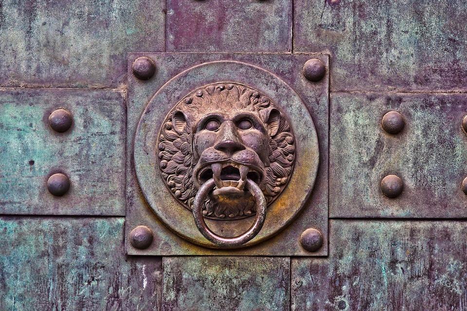 Lion Head, Door Knocker, Door, Gate, Metal, Ornament