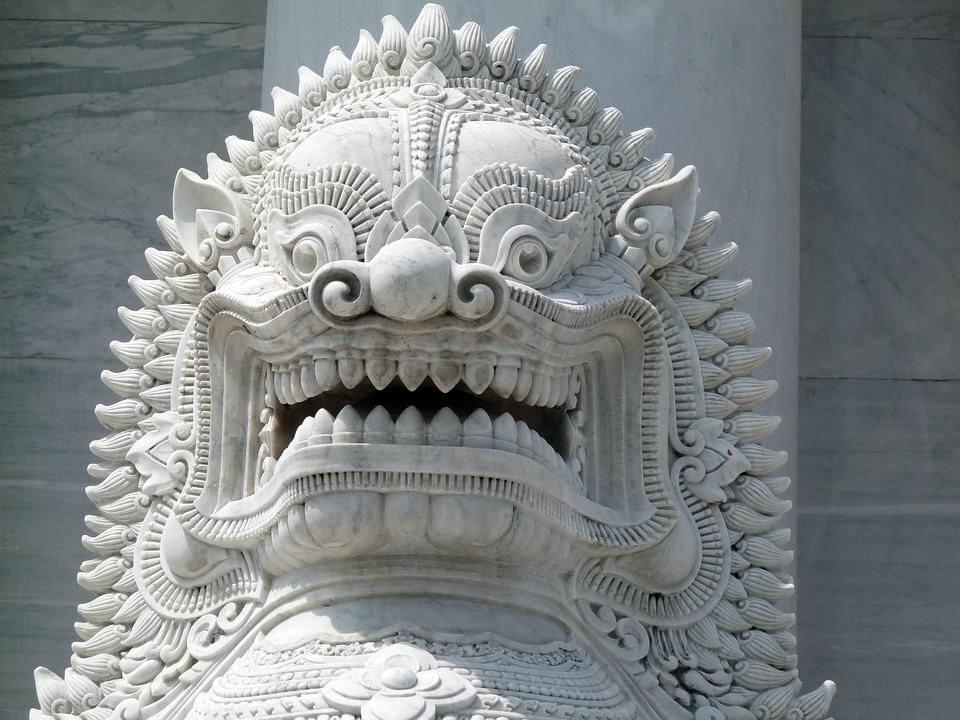 Lion Head, Temple Guardian, Thailand, Lion, Sculpture