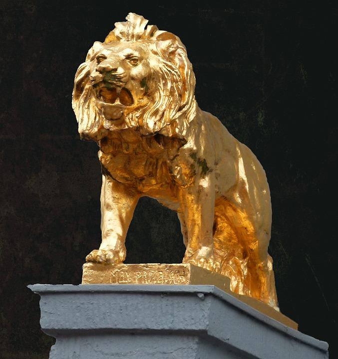 Lion, Symbol, Golden, Lion Statue, Decoration