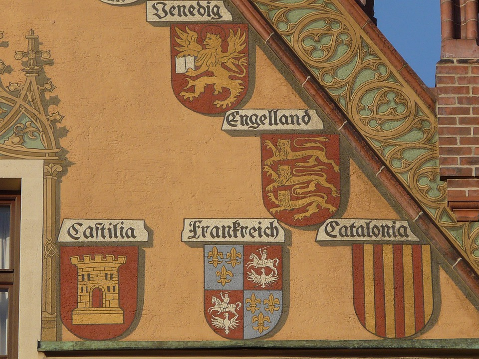 Facade, Building, Coat Of Arms, Lion, Tower, Town Hall