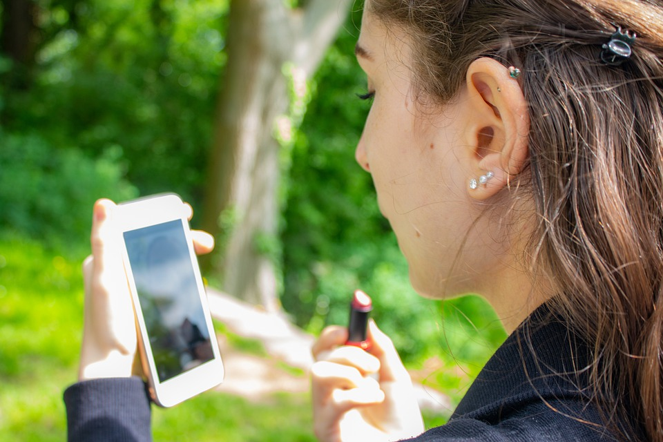 Woman, Mobile Phone, Lipstick, Cellphone, Earrings