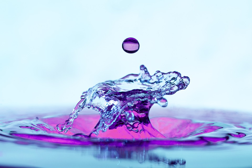 Water Drop, Splash, Liquid, Wet, Purple