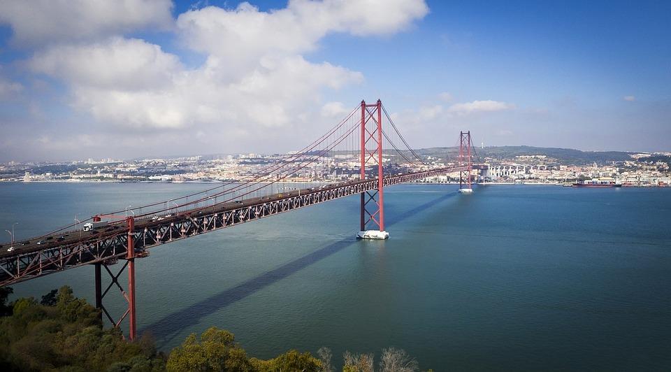 Lisbon, Ponte 25 De Abril, Lisbon Bridge, Portugal, Sea