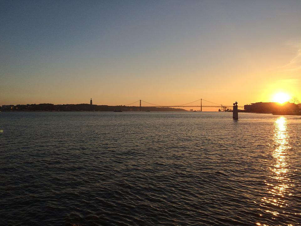 Lisbon, Bridge, Sunset, River, Portugal