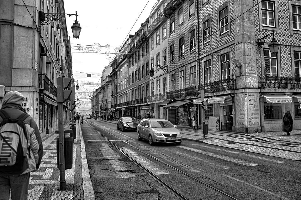 Street, Lisbon, Portugal, City, Car, Black And White