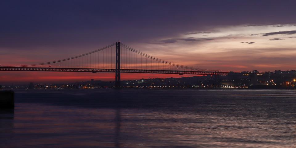 Lisbon, Portugal, Bridge, Sky, Clouds, Sunset, City