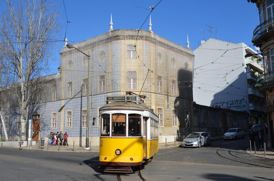 The Tram, Lisbon, Track, Transport, Portugal