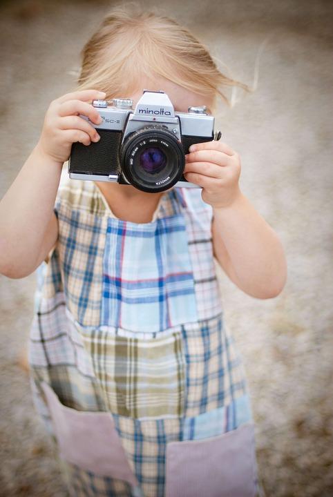 Camera, Film, Little Girl, Minolta, Positive
