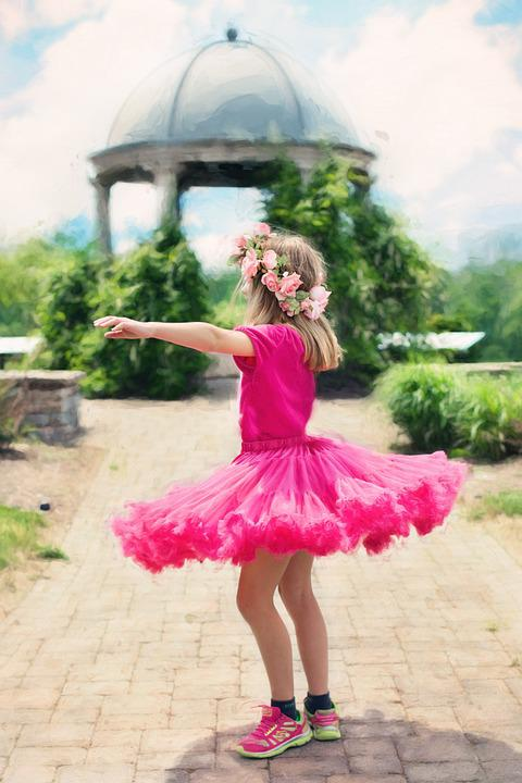 Little Girl Twirling, Dancing, Outdoors, Summer, Pretty