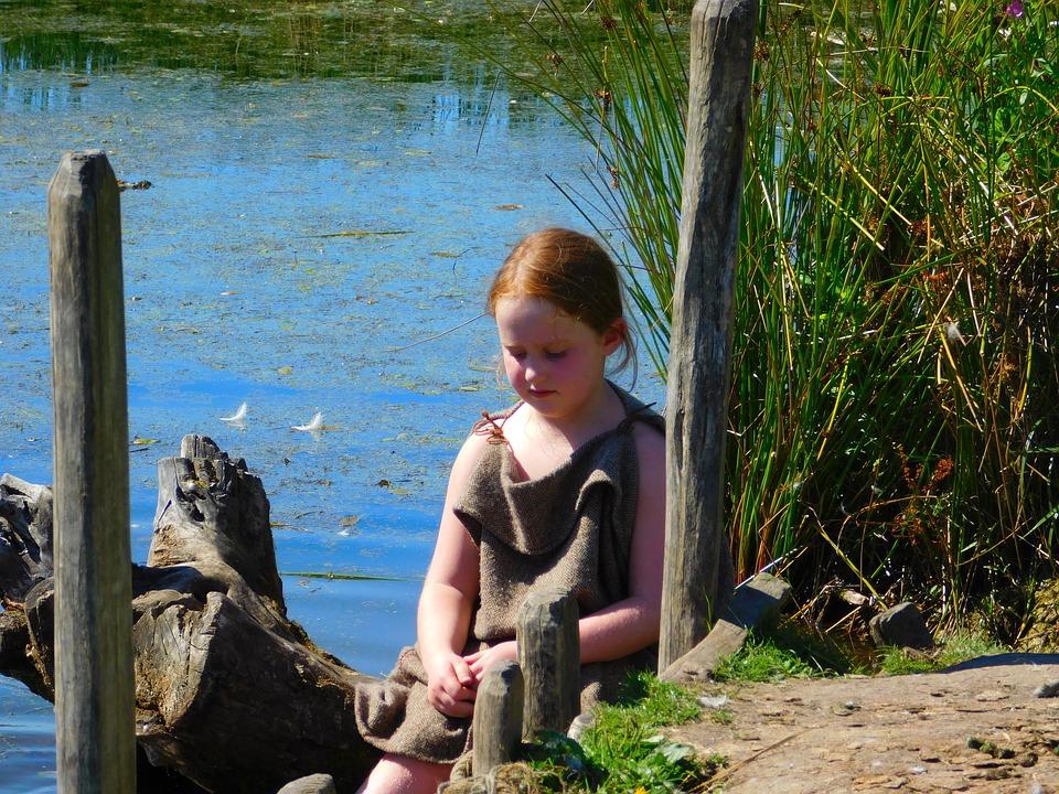 Denmark, Little Girl, Vikings, Viking Village, Lake