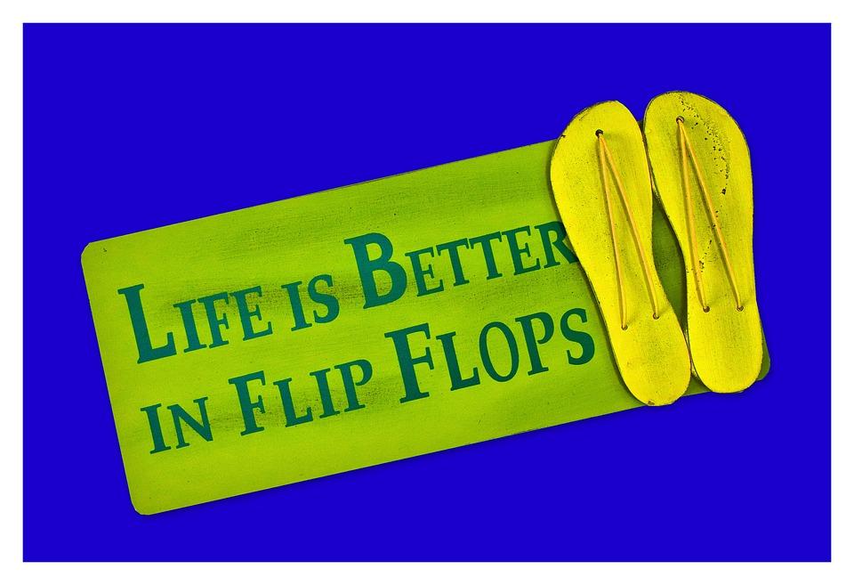 Shield, Postcard, Live, Better, Flip Flops, Shoes