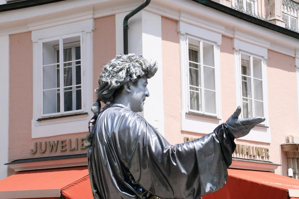 Mozart, Live, Sculpture, Salzburg, Austria, Man, Window