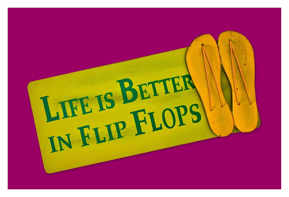 Flip Flops, Shoes, Shield, Postcard, Live, Better